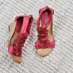 Patrizia Harlequin Wedge Comfort Sandals Size 37 Red Flowers Zip Back Open Toe